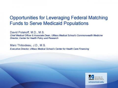 Opportunities for Leveraging Federal Matching Funds to Serve Medicaid Populations