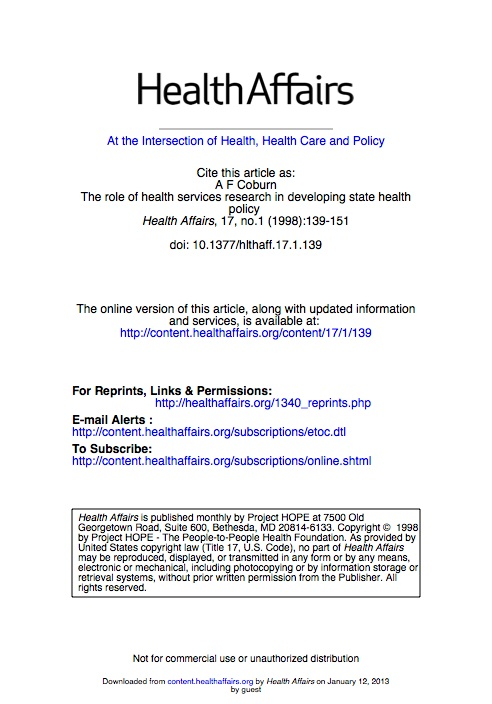 The role of health services research in developing state health policy